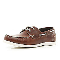Boys light brown boat shoes