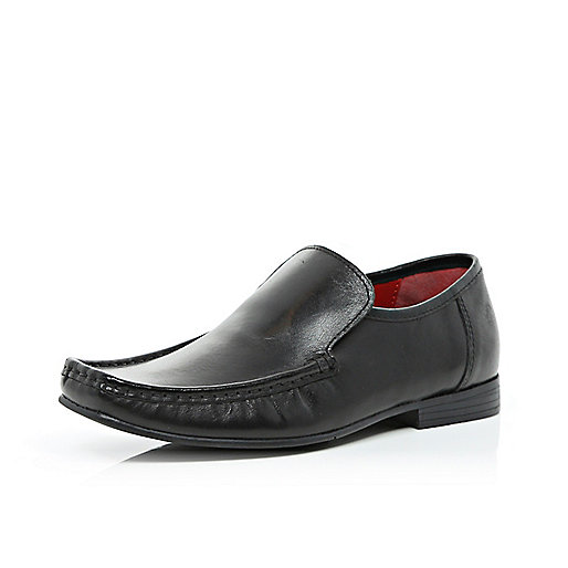 Boys black slip on smart shoes