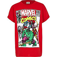 Boys red Marvel comic print t-shirt