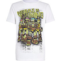 Boys white Ninja Turtle print t-shirt