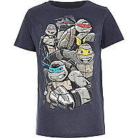 Boys navy Ninja Turtle print t-shirt