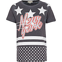 Boys black New York contrast spot t-shirt