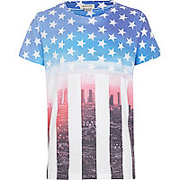 Boys white American flag print t-shirt