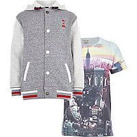 Boys grey hoody and NYC t-shirt set