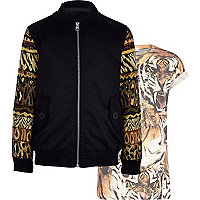 Boys black tapestry bomber and tiger set