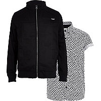 Boys black bomber and fan shirt set