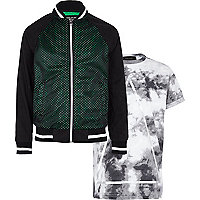 Boys black bomber and tie dye t-shirt set