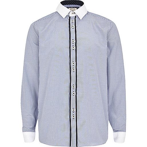 Boys blue pinstripe smart shirt