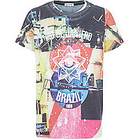 Boys Brazil mixed print t-shirt