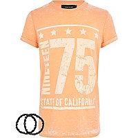 Boys orange burnout 1975 t-shirt and bracelet
