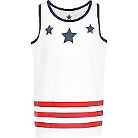Boys white stars and stripes print vest