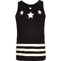 Boys black stars and stripes print vest
