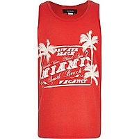 Boys red Miami print vest