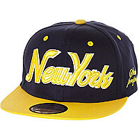 Boys navy and yellow New York snapback hat