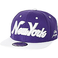 Boys purple and white New York snapback hat