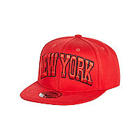 Boys red New York snapback hat