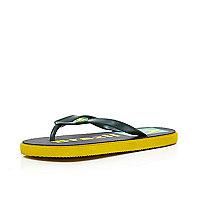 Boys green Brazil World Cup flip flops