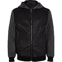 Boys black PU quilted sleeve jacket
