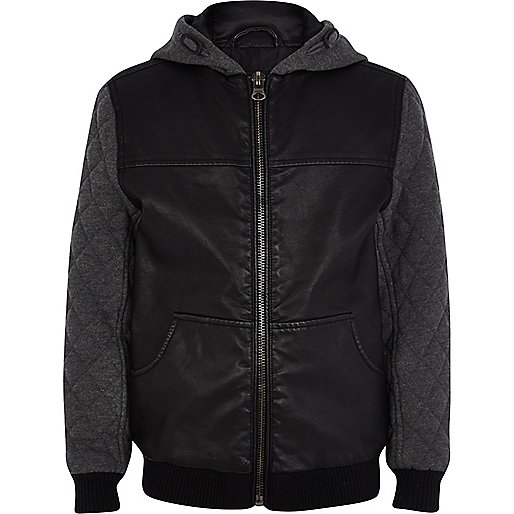 Boys black PU quilted sleeve jacket