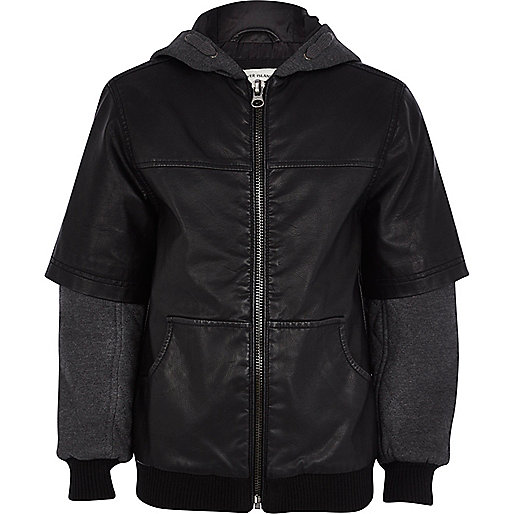 Boys black leather-look half sleeve jacket