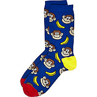 Boys blue monkey banana socks
