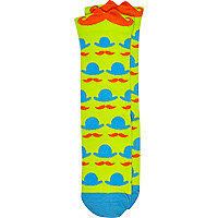 Boys green 3D moustache socks