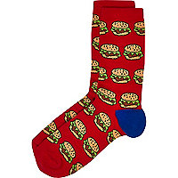 Boys red burger socks