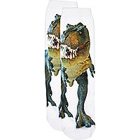 Boys white t-rex photo print socks