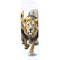 Boys white lion photo print socks