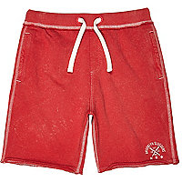 Boys bright red acid wash jersey shorts
