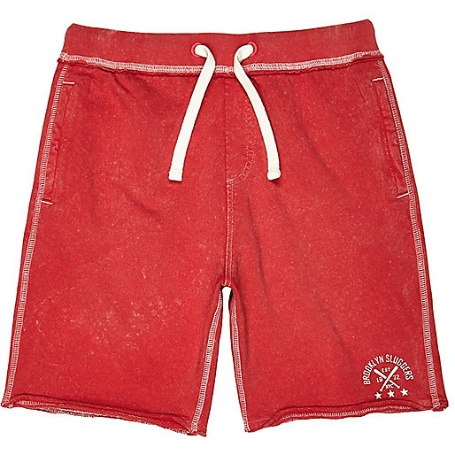 Boys bright red acid wash jersey shorts