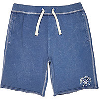 Boys blue acid wash jersey jogger shorts