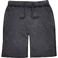 Boys black acid wash jersey jogger shorts