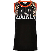 Boys black leopard print mesh vest