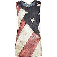 Boys American flag print mesh vest