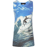 Boys blue surf print vest