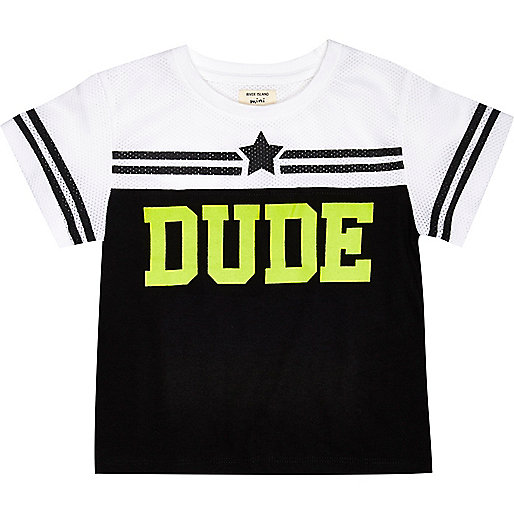 Mini boys Dude mesh block t-shirt