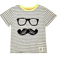 Mini boys grey stripe handsome face t-shirt