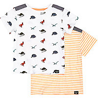 Mini boys dino and orange t-shirt 2 pack