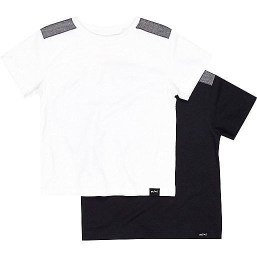 Mini boys white and navy t-shirt 2 pack