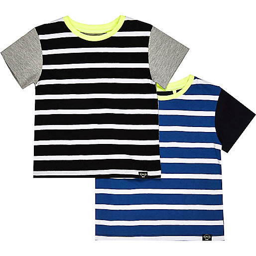 Mini boys blue stripe t-shirt 2 pack