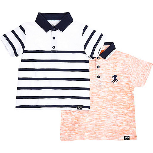 Mini boys navy and orange polo 2 pack