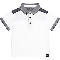 Mini boys white polo shirt