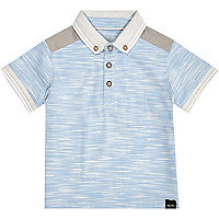Mini boys blue flecked polo shirt