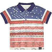 Mini boys USA aztec flag print polo shirt
