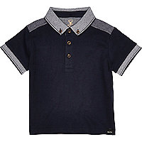 Mini boys navy polo shirt