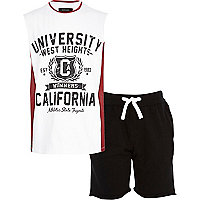 Boys white California vest and short set