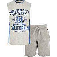 Boys grey California vest and shorts set