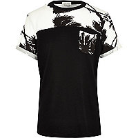 Boys black palm print block t-shirt