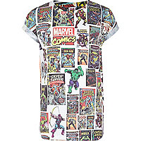 Boys white Marvel postcard print t-shirt